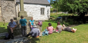 Taking a rest at the old Village Church