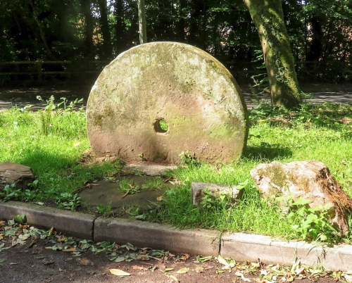 Old mill stone at Glamorgan Canal entrance