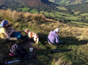 Pausing after a steep climb from Capel y ffin