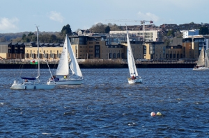 Yachts racing in the Bay