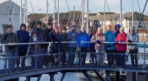 The gang on the entrance to Penarth Marina