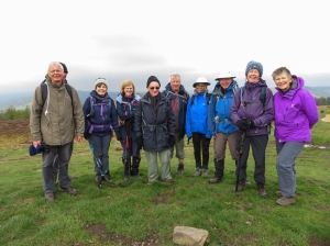 The gang on a windy Mynydd Machen
