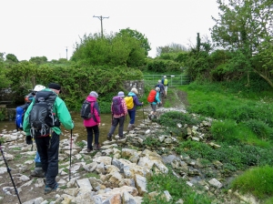 Crossing the Nash Brook to the medieval grange