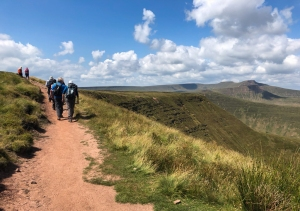 Walking on the escarpment towards Fan Y Big