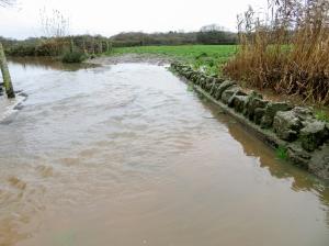 Footpath under water Wrinstone