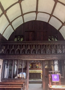 The carved rood screen