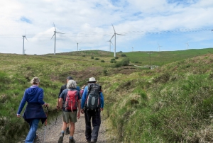 Climbing up past the Taff Ely Windfarm