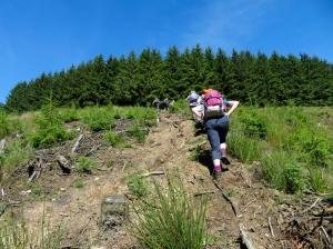 Steeply uphill