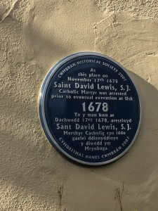 Plaque for David Lewis the martyr