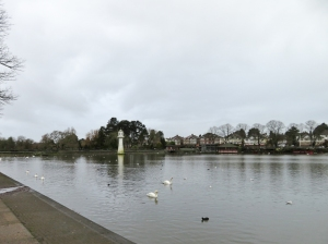 Roath Park Lake and lighthouse